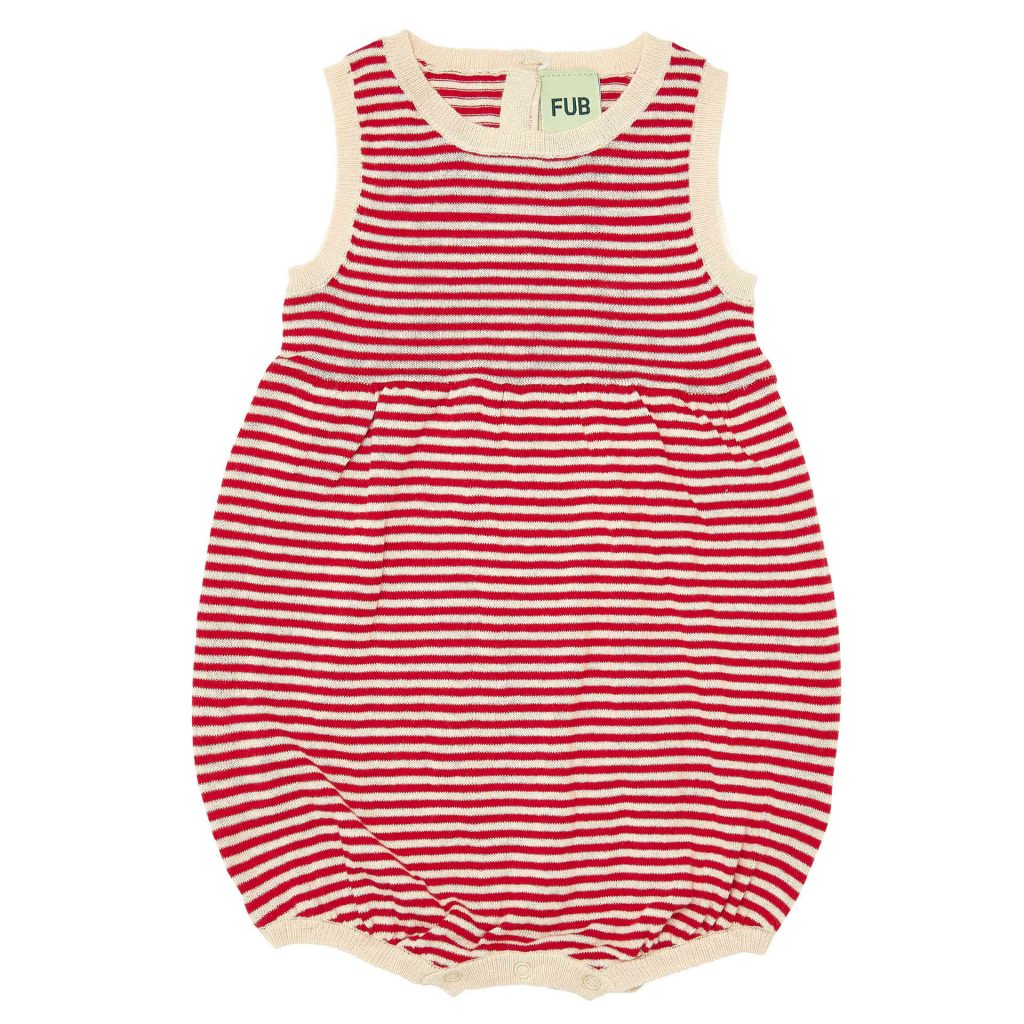 FUB gestreifter Baby Romper rot/natur